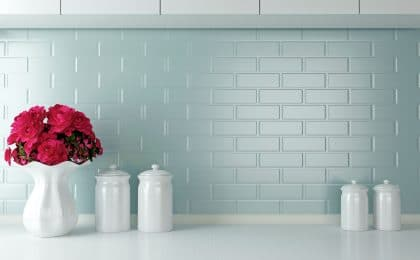 Pop of color in white kitchen